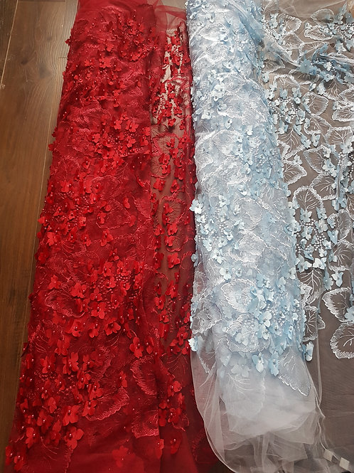 Bella - 3D Bridal Wedding Embroidery Flower Beaded Lace Fabric