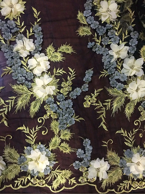 3D Bridal/Wedding Embroidery Flower & Beaded Lace Fabric - Yellow & Olive