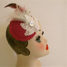 pink feathered hair fascinator