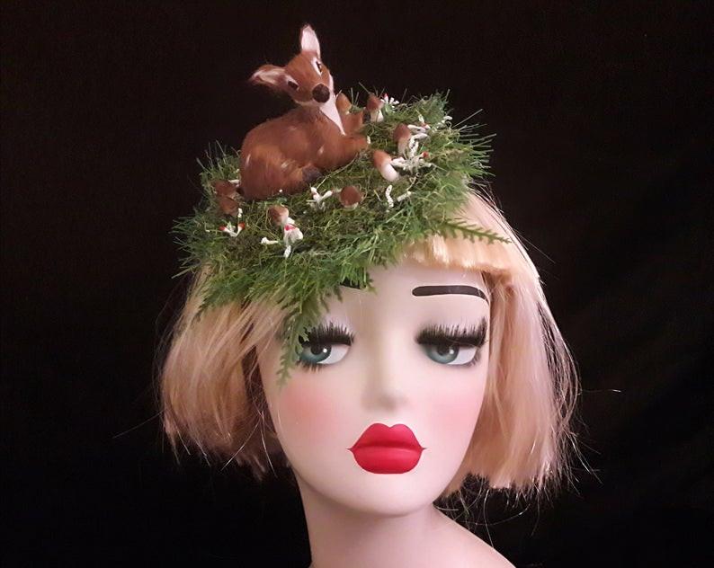 quirky fascinator, ascot hat, headpiece, headdress