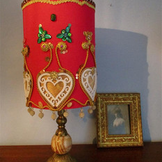 Large bright pink embellished lampshade hand decorated moroccan style exotic beaded lamp shabby chic elaborate lighting sequinned lampshades