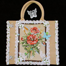 Lace bag, hand decorated bag, Victoriana