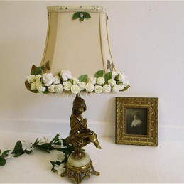 Cream lampshade with roses and butterflies shabby chic hand decorated lights fairy princess romantic lighting boudoir shade with roses