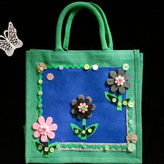 hand decorated floral jute shopping bag