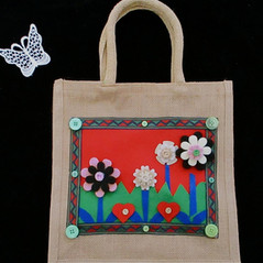 Flowered bag, bespoke occasion bag,uniqu