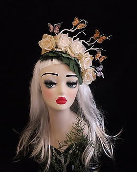 ivory flower and butterfly hair accessor