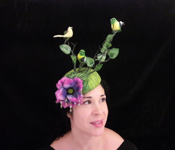 Bird fascinator, green hat with birds trees and beading, surreal large quirky, Ascot Hat, green pink flowers wild garden, kentucky derby