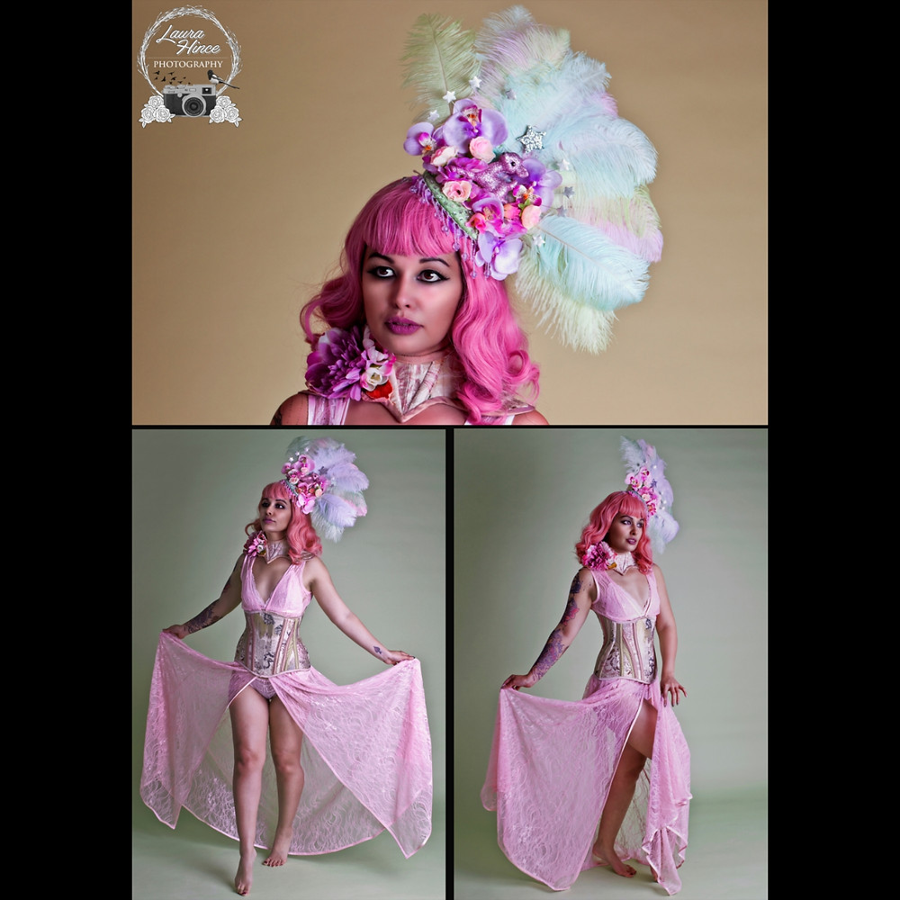 Pink green feathered showgirl headdress with flowers beading and silver glittery stars quirky kitsch bambi Ascot hat Burlesque Gay pride