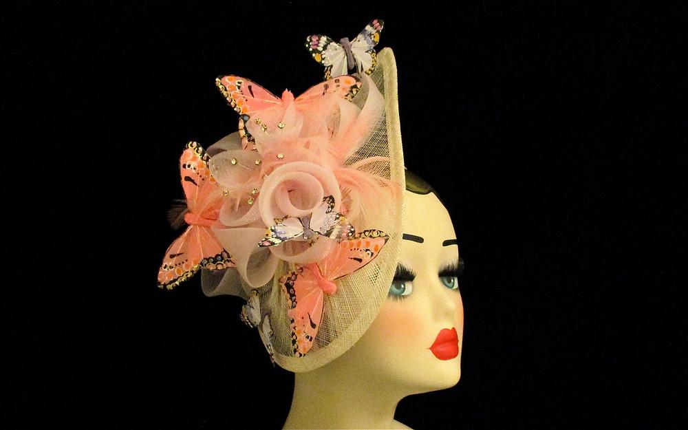 Large Pink peach lilac fascinator, large butterfly fascinator, Kentucky Derby Hat, Butterfly headdress, Statement Headpiece, summer wedding hat