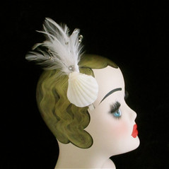 real shell and feather fascinator.