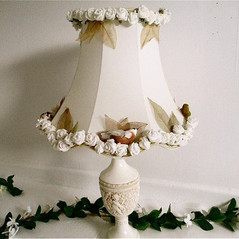 Large cream Ivory bird lampshade shabby chic hand decorated with foliage leaves lampshade with birds bespoke boudoir lamp victoriana