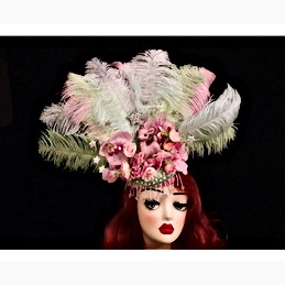 Pink and Green Feathered Showgirl Headdr