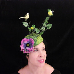 statement headpiece, floral and birds