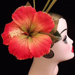 hair flower orange fascinator