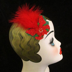 red feathered fascinator