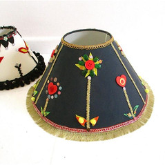 Black decorated lampshade ethnic style lampshade with buttons sequins jewels boho lighting gold and black tribal lampshade bespoke