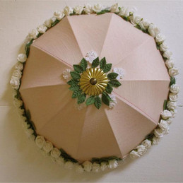 Large pink peach lampshade with white roses circular pink flowered romantic boudoir lamps shabby chic hand decorated fairy princess light