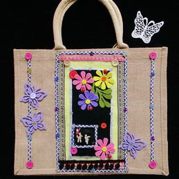hand decorated bag, cute bag, oriental,