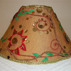Gold bronze lampshade Ethnic style embroidered embellished sequinned lampshade golden rustic Moroccan light decorated with sequins silk