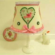 Pink Gingham lampshade Ivory Cream gingham lampshade with birds green pink flowered girl's folk art bedroom light hand decorated bows