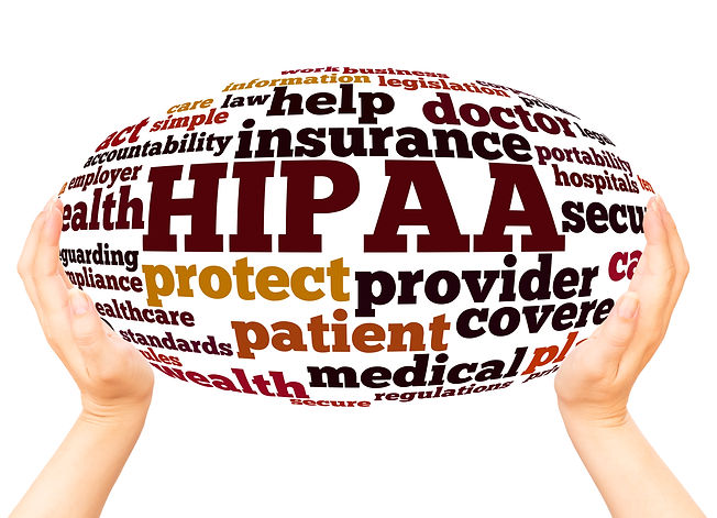 HIPAA word cloud hand sphere concept on
