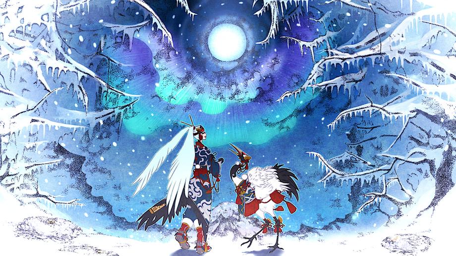 冬夜と鶴 無断転載禁止