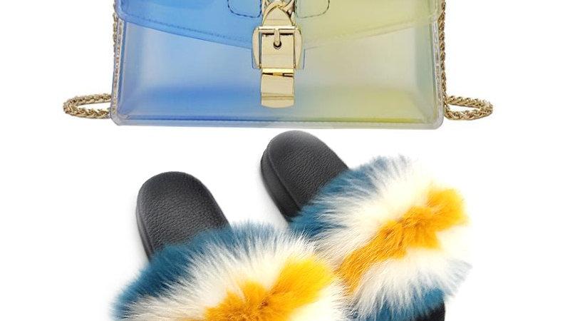 Fur Slides & Bag