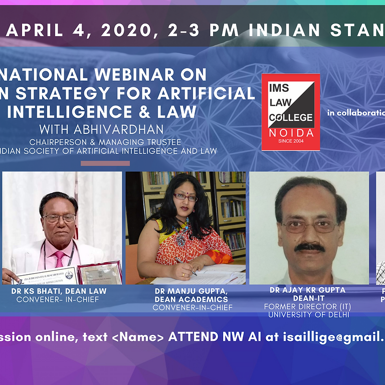 National Webinar on Indian Strategy for Artificial Intelligence & Law, 2020