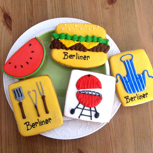 Hamburger cookie, Watermelon cookie, barbecue cookies, apron cookies, summer cookies