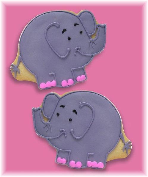 Pink elephant cookies, baby shower cookies, elephant cookies Los Angeles, baby shower elephant cookies