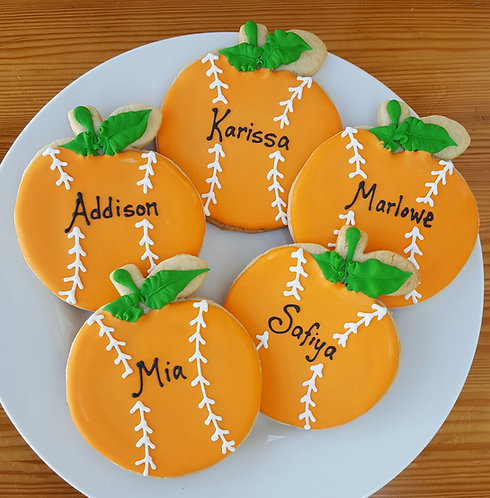 Orange cookies, customized orange baseball cookies, Orange cookies Los Angeles, custom team cookies