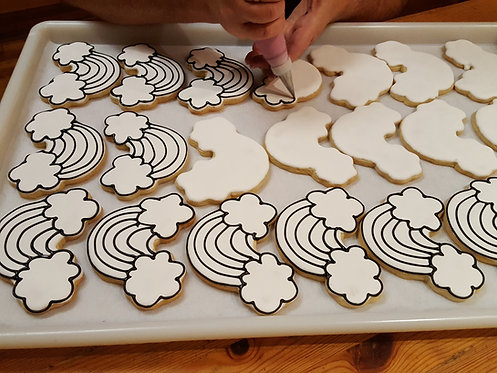Cookies to color in, white cookies to color, party cookies to color