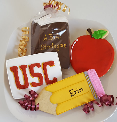 pencil cookies, USC cookies, apple cookies, book cookies, graduation cookies Los Angeles
