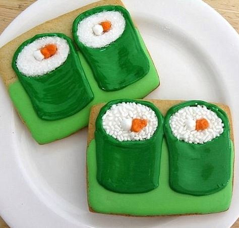 Sushi cookies, Japanese food themed party favors