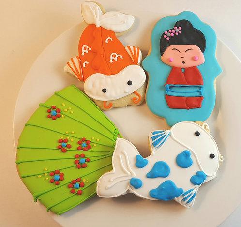 Japanese cookies, Koi fish cookies, fan cookies, Japanese party favor cookies