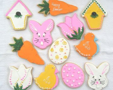 Easter cookies, Easter bunny cookies, egg cookies, bunny face,carrot cookie, bird house cookies, tulip cookies, chick cookies