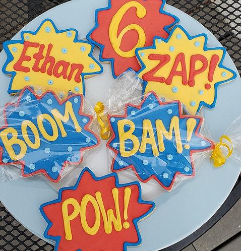 Super hero cookies, superhero party favors, speech bubble cookies, comic book cookies