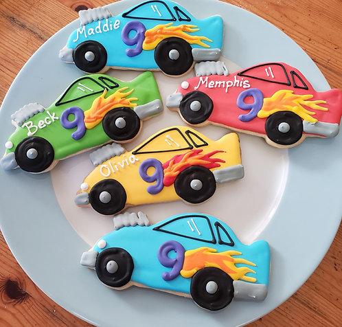 race car cookie favors, race cars, car cookies, Race car party favors