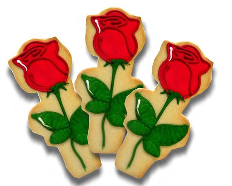 Rose cookies, long stem rose cookies Los Angeles, red rose cookies