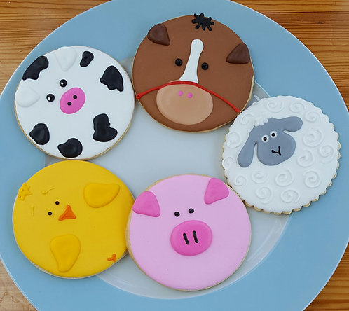 Animal cookies, baby shower animal cookies, cow cookies, pig cookies, chick cookies