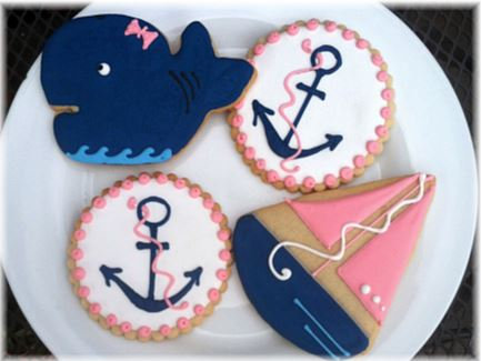 Anchor cookies, sailboat cookies, Whale cookies, nautical cookies, nautical party cookies, Alpha Gamma cookies