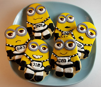 Minion cookies, custom movie character cookies Los Angeles, Minion cookies Los Angeles