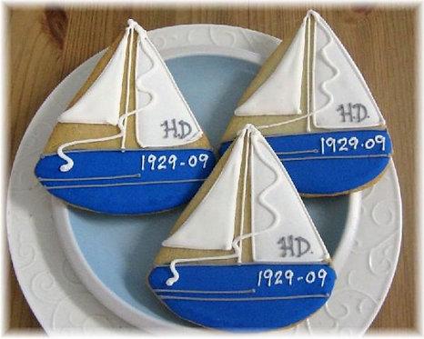 sail boat cookies, nautical cookies, anchor cookies, nautical party favor cookies