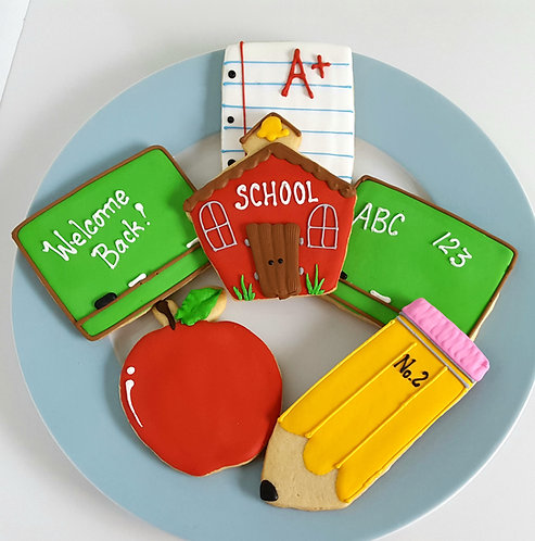 pencil cookies, apple cookies, notebook paper cookie, schoolhouse cookie, chalkboard cookie