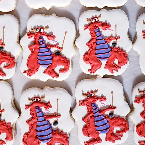 Dragons with golf club cookies, Custom Dragon cookies, Custom dragon cookies Los Angeles