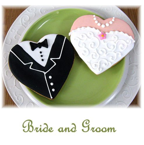 bride and groom cookies, bride and groom cookies Los Angeles, heart cookies, bride cookies, groom cookies, tuxedo cookies