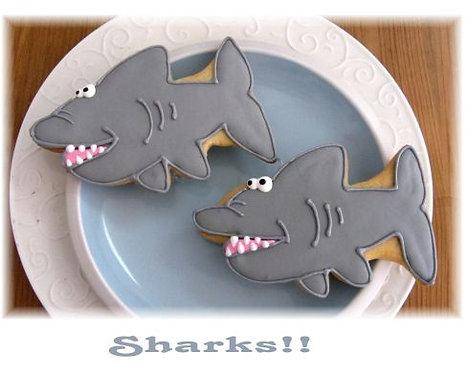 Shark cookies Los Angeles, sea creature cookies, whale cookies, shark week cookies