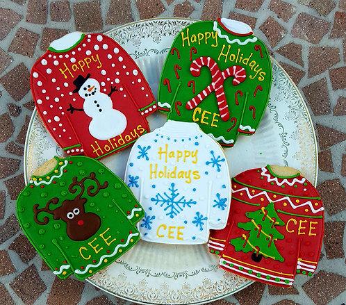 ugly sweater cookies, ugly sweater cookies Los Angeles, ugly sweater party favors, ugly sweater party cookies
