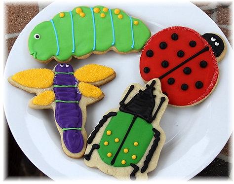 lady bug cookies, beetle cookies, dragonfly cookies, caterpillar cookies, insect cookies, bug cookies Los Angeles