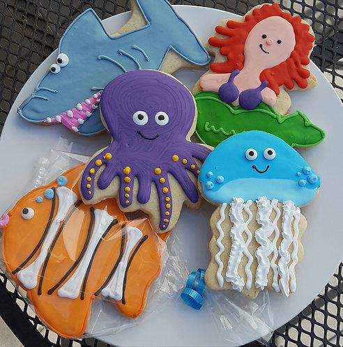 Shark cookies, mermaid cookies, octopus cookies, fish cookies, jellyfish cookies, sea cookies